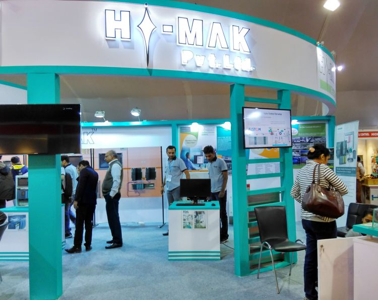 Exhibition Stall Fabricators In London : Exhibition stall design for hi mak in
