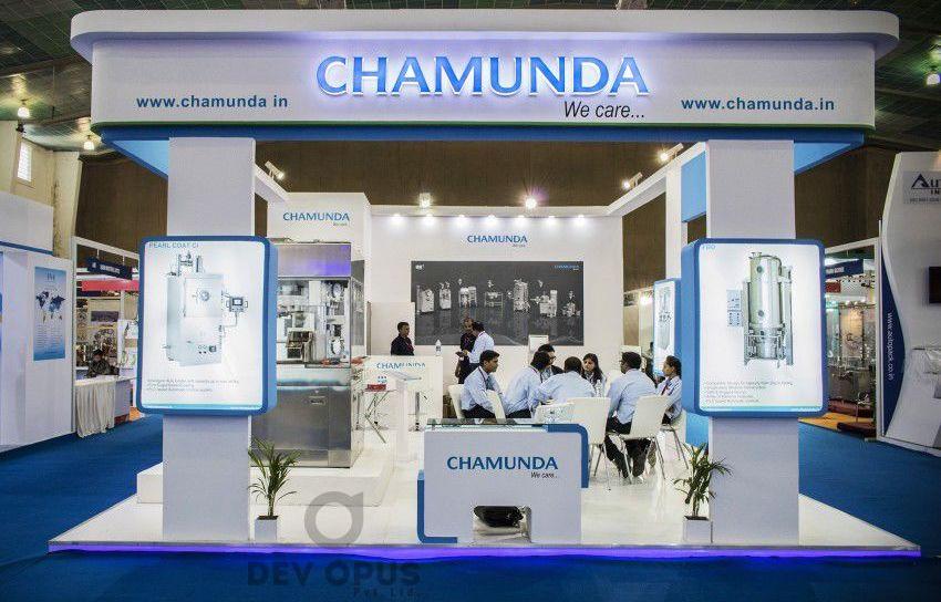 exhibition stall design for Chamunda in pharma tech expo 2016 - 1