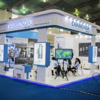 exhibition stall design for Chamunda in pharma tech expo 2016
