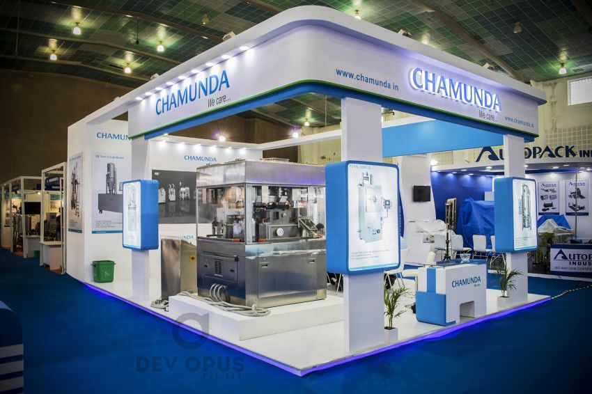 Exhibition Stall Design Agency In Ahmedabad : Exhibition stall design for chamunda in pharma tech expo