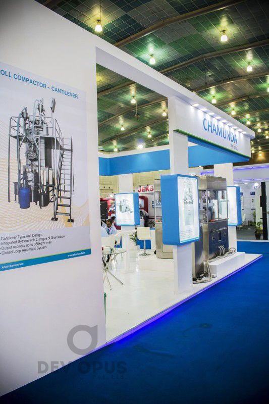 Exhibition Stall In Ahmedabad : Exhibition stall design for chamunda in pharma tech expo