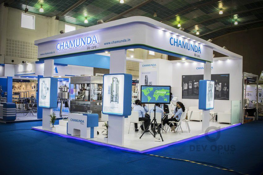 Exhibition Stall Design Ahmedabad : Exhibition stall design for chamunda in pharma tech expo